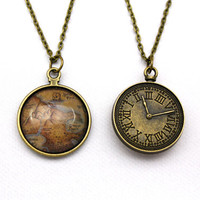 Peter Pan, Neverland Map Double-Sided Clock Necklace