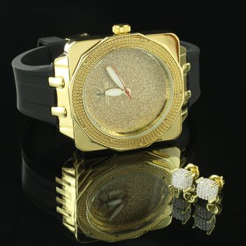 Hip Hop Gold Tone Real Diamond Watch Illusion Dial Screw On Cube Earrings Studs