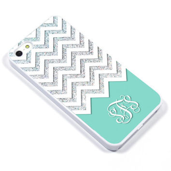 Personalised iPhone Case iPhone 5 iPhone 5s iPhone 5C iphone 4 Samsung Galaxy S3 S4 - Monogram Chevron mint pool white glitter - p36