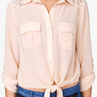 Self-Tie Floral Lace Shirt