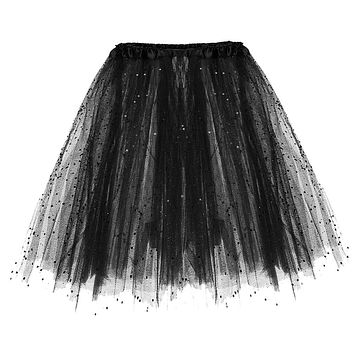 be1ad46df0 Skirt Womens Black White 2019 Skirts Paillette Elastic 3 Layered