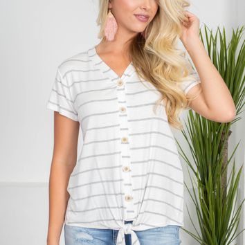 Archie White Striped Top