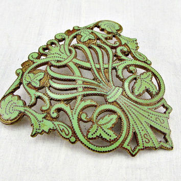 Antique Victorian Edwardian Brooch Pin, Floral Art Nouveau Brooch, Green Enamel Brooch, Brass Filigree Brooch, 1900s Downton Abbey Jewelry