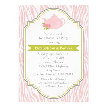 Tea party teapot, pink zebra print bridal shower personalized invite from Zazzle.com