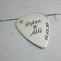 Silver Guitar Pick stamped personalised name by MetalPressions