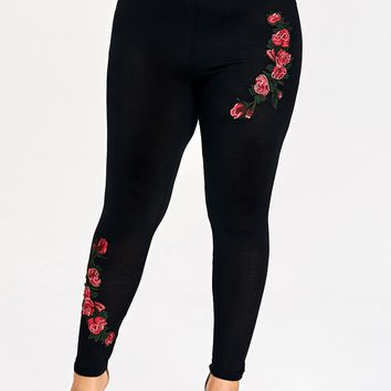 Plus size embroidered floral leggings ankle length