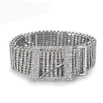Crystal New metal chain Women's belt