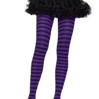Black & Purple Striped Tights Gothic Punk Emo Club Vamp