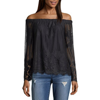 Arizona Lace Off Shoulder Top- Juniors - JCPenney