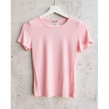Free People Baby Rib Knit Tee in Blush