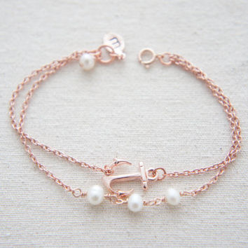 Rose gold anchor bracelet with pearls and personalized leaf- bridesmaids gift, wedding, modern, casual, everday, birthday gift