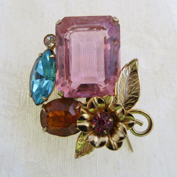 Vintage Emerald Cut Glass Brooch, Floral and Leaves Rhinestone  Accents, Pink Faceted Baguette Stone