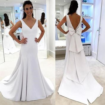 White V Neck Formal Prom Gown,Open Back Sheath Wedding Dress With Bow Detail