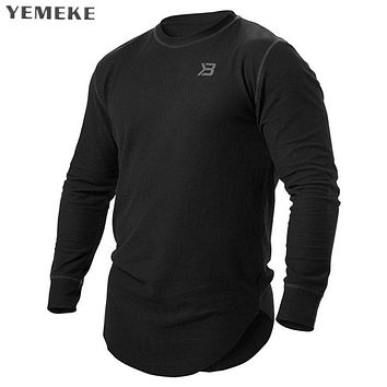 Men Soft Stretchy Extended Long line Curve Hem T-shirt Men Street weer Casual Long Sleeve Tee shirts