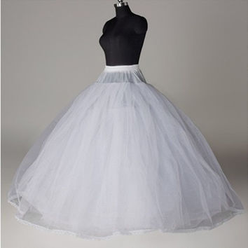 In Stock White Ball Gown Petticoat For Wedding Dress 2016 Jupon Mariage Plus Size Underskirt Crinoline Cheap Wedding Accessories (Color: White)