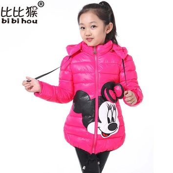 Bibihou Winter Girl parka Coat Minni snow wear Outwear Coat Cotton baby Kids Clothing Outfits down jacket for girls children
