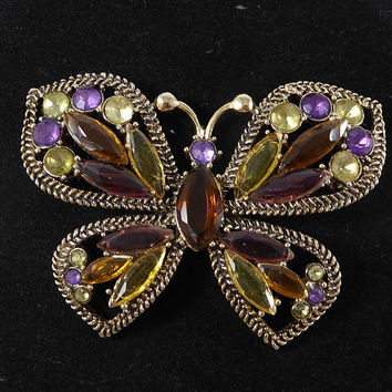 Rhinestone Butterfly Pin Signed Monet, Purple Gold Tone Yellow Chaton & Marquis Rhinestones, Opened Back Stones, Vintage 1980s 1990s Jewelry