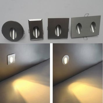 Free HI-Q Aluminum Modern Brief LED Stair Light 85-265V 3W Wall Mounted Spotlight Background Light Step Aisle Lamp
