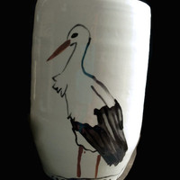 Ceramic Pot - White decorative vase for plants with hand painted stork- Small jar- Ceramic and pottery- Ceramic container. Vase