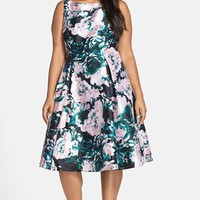 Plus Size Women's Adrianna Papell Floral Print Mikado Party Dress,
