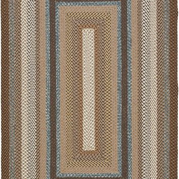 Braided Transitional Indoor Area Rug Brown / Multi