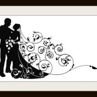 Wedding Couple Silhouette Cross Stitch Pattern | Los Angeles Needlework