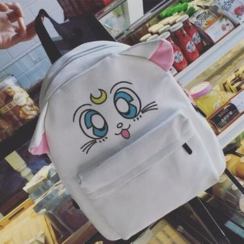 new han edition cute sailor moon embroidery rucksack backpack cute cartoon cat bag students