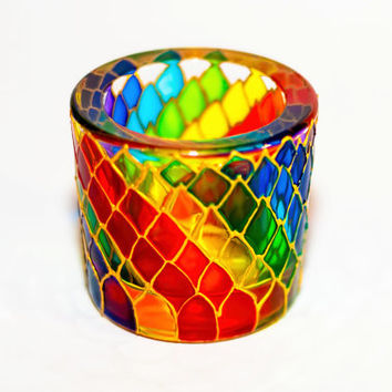 Rainbow Candle Holder, Painted Multicolor Candle Golder, Mosaic Glass