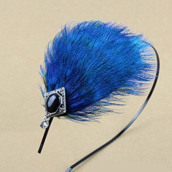 Elegent Blue Peacock Feather Hair Band Accessory