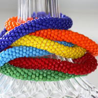 ONE Crocheted Beaded Bracelet  - bright bold colours - red - orange - blue - green - light blue - yellow - pick one or more...