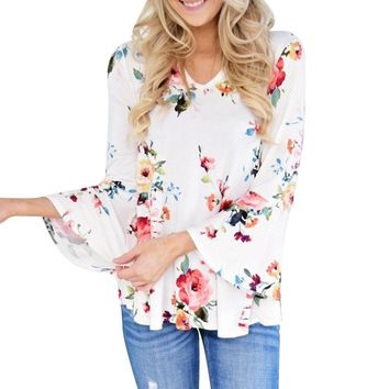 Flare Sleeve Floral Shirt