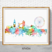 London Print, London Skyline, London Art London United Kingdom, Office Prints, Watercolor Skyline, Watercolor City Print, ArtPrintZone