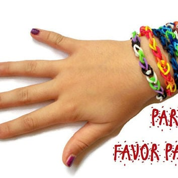 TEN Thin Friendship Bracelets for Party Favors, Rainbow Loom Rubber Band Bracelets - Choose Any Colors - Stocking Stuffers, DIY Party Favor