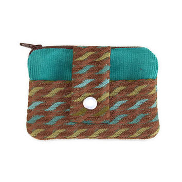 Small Women's Wallet In Multi-color Brown and Teal Corderoy, Coin Purse and Card Holder with FREE SHIPPING