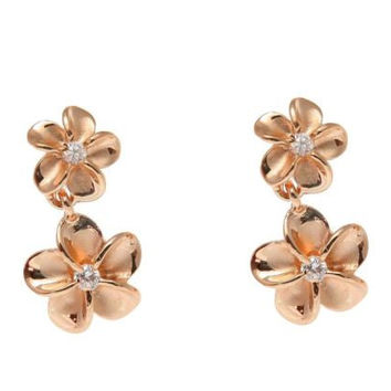 ROSE GOLD ON SILVER 925 HAWAIIAN 8MM DANGLE 10MM PLUMERIA FLOWER EARRINGS
