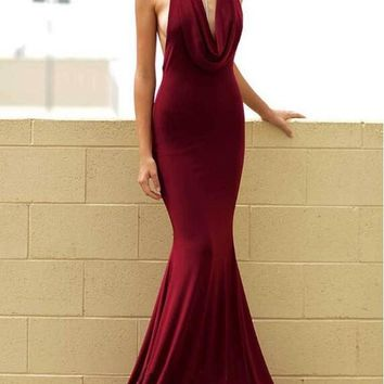 New Maroon Draped Cowl Neck Halter Neck Backless Mermaid Wedding Prom Party Maxi Dress