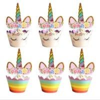 24pcs/set Unicorn Party Rainbow Unicorn Cake Topper Cupcake Wrappers Anniversary Baby Shower Birthday Party Decoration Girl Boy