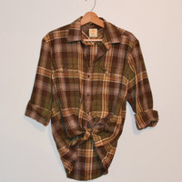 Vintage Plaid Flannel Shirt Vintage 90s Brown and Green Timberland Flannel Lumberjack Grunge Unisex slouchy button up Checkered Size Medium