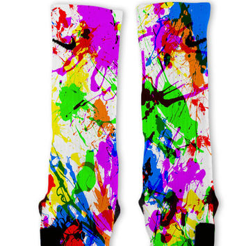 Paint Splatter White Custom Nike Elite Socks