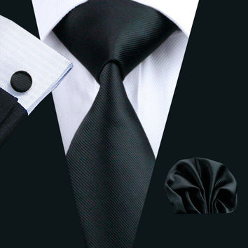 Men Tie Black Solid 100% Silk Classic Barry.Wang Tie+Hanky+Cufflinks Set For Men Formal Wedding Party