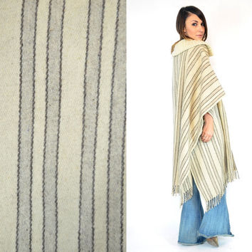 southwestern BLANKET PONCHO mexican wool GYPSY fringe draped cape poncho, one size fits all