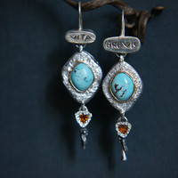 Unique turquoise earrings, topaz earrings, modern earrings, long earrings, sterling silver and gold earrings, ancient style, latin quote