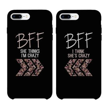 BFF Floral Crazy Best Friend Black Matching Phone Cases
