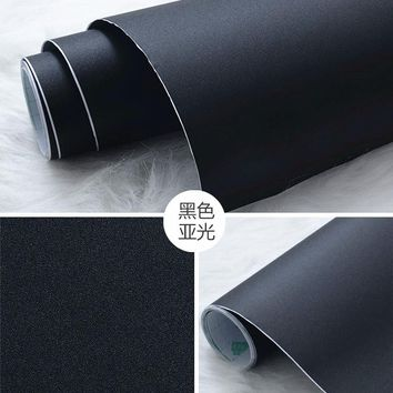 With thick black wood grain inferior smooth furniture renovation adhesive stickers plain PVC wallpaper wallpaper-322