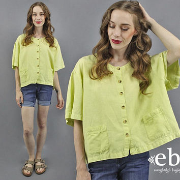 Linen Blouse Lime Green Blouse 90s Crop Top 90s Blouse Summer Blouse 90s Top 1990s Blouse Linen Top Cropped Blouse Cropped Top L XL