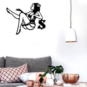 Wall Stickers Vinyl Decal Sexy Girl Tights Lingerie Naked Woman (ig974)