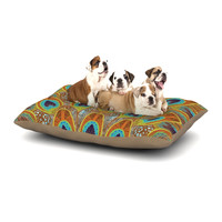 """Art Love Passion """"Peacock Pattern"""" Brown Teal Dog Bed"""