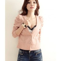 Puff Sleeve Women Clothing Fashion Elegant Long Sleeve Autumn Apparel Pink Cotton Coat One Size @GP0011p $11.99 only in eFexcity.com.