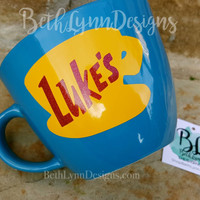"GLITTER!  ""Blue"" - Original Luke's Diner Inspired stoneware Big Mug with VINYL decal logo on BOTH sides!  New with glitter!"