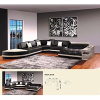 Luxury 5012B Modern Dark Brown Leather Sectional Sofa